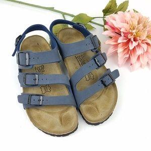 Birkis Birkenstock Blue Leather Ankle Strap Sandal